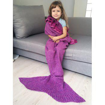 Multilayered Ruffles Knit Mermaid Blanket Throw For Kids -  VIOLET ROSE