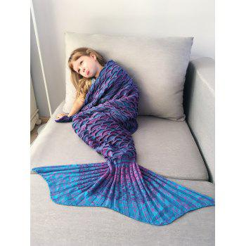 Mix Color Fish Scale Knit Mermaid Blanket Throw For Kids - COLORMIX