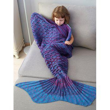 Mix Color Fish Scale Knit Mermaid Blanket Throw For Kids - COLORMIX COLORMIX