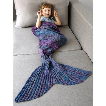 Ombre Crochet Knit Mermaid Blanket Throw For Kids -  COLORMIX
