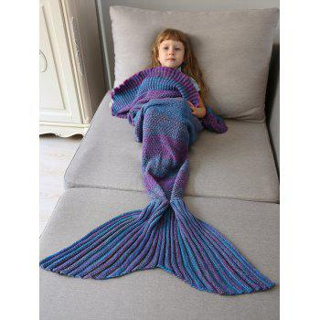 Ombre Crochet Knit Mermaid Blanket Throw For Kids - COLORMIX COLORMIX