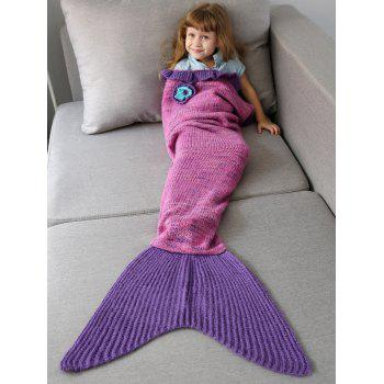 Handmade Flower Ruffles Knit Mermaid Blanket Throw For Kids - PINK PINK