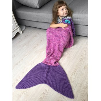 Handmade Flower Ruffles Knit Mermaid Blanket Throw For Kids -  PINK