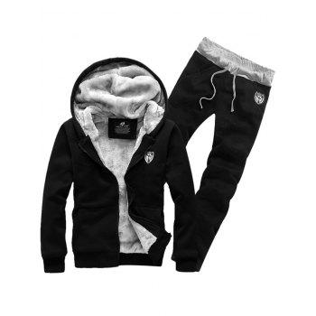 Zip Up Patch Hoodie and Sweatpants Twinset - BLACK M