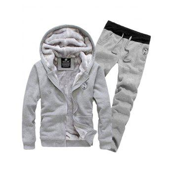 Zip Up Patch Hoodie and Sweatpants Twinset - GRAY XL