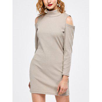 Cold Shoulder Ribbed Knit T Shirt Dress