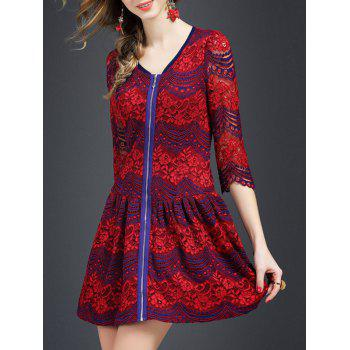 Zipper Lace Mini A Line Dress