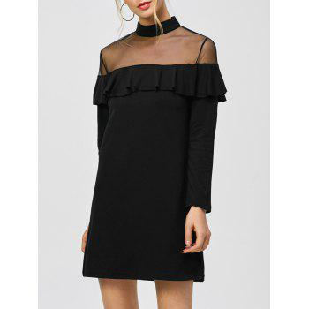 Mesh Panel Flounced Mini Dress