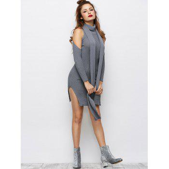 Froide épaule fente latérale Sweater Dress - Gris M