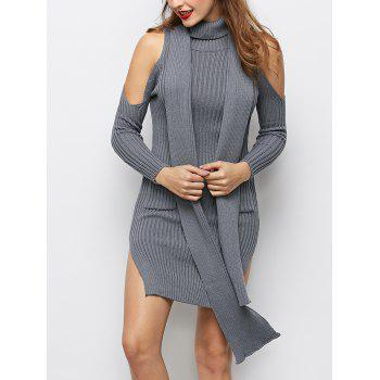 Turtleneck Cold Shoulder Slit Fitted Knit Dress