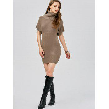 Turtleneck Bodycon Mini Short Sleeve Jumper Dress - KHAKI KHAKI
