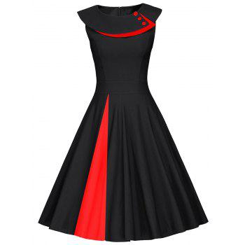 Colorblock Sleeveless Pleated A Line Dress
