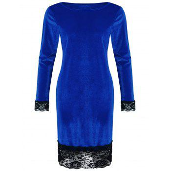 Lace Trim Velvet Bodycon Dress