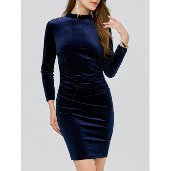 Velvet Studded Ruched Bodycon Dress