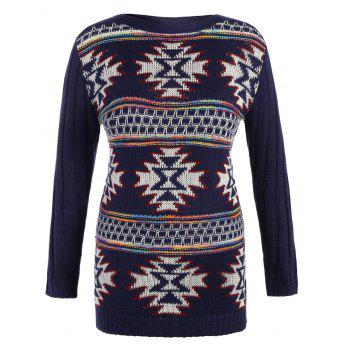 Geometrical Graphic Plus Size Pullover Ribbed Sweater