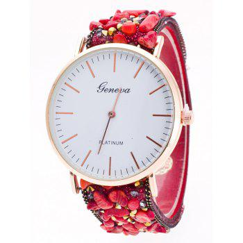 Faux Suede Stone Studded Bracelet Watch