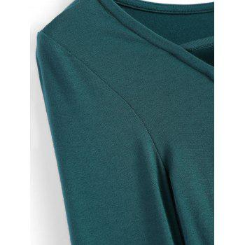 Lace Up Fitted Crop Tee Shirt - GREEN GREEN