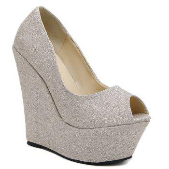 Peep Toe Glitter Wedge Shoes - LIGHT GOLD 39