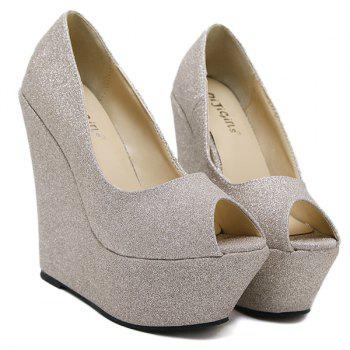 Peep Toe Glitter Wedge Shoes - 39 39
