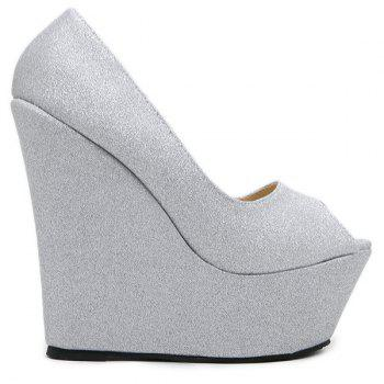 Peep Toe Glitter Wedge Shoes - 40 40