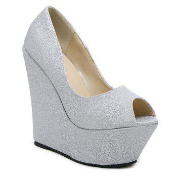 Peep Toe Glitter Wedge Shoes - SILVER 40