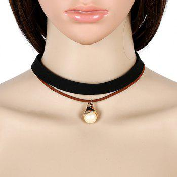 Faux Leather Velvet Pearl Choker Necklace