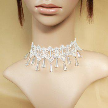 Faux Gem Teardrop Lace Choker Necklace