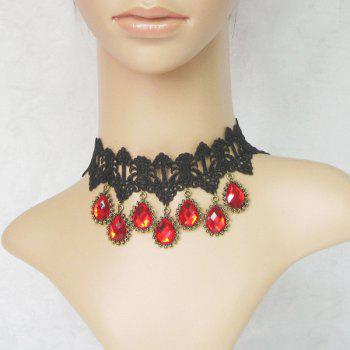 Faux Ruby Teardrop Lace Choker Necklace