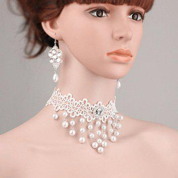 Artificial Pearl Flower Lace Choker Necklace and Earrings