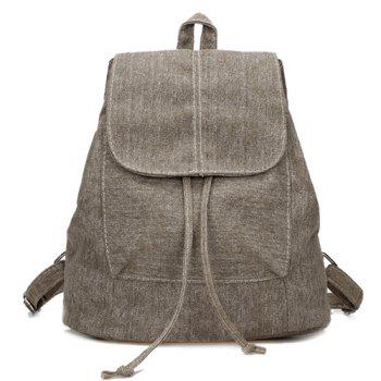 Drawstring Flap Canvas Backpack