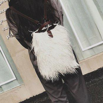 Convertible Faux Fur Backpack - WHITE