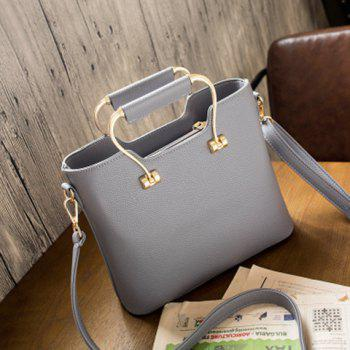 Metal Handle Textured Handbag