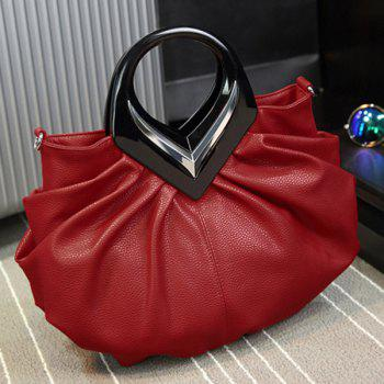 Buy PU Leather Ruched Handbag RED
