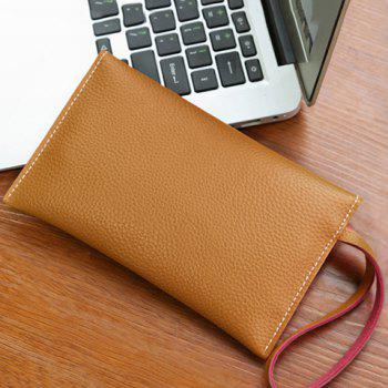 Stitching Flapped Wristlet -  LIGHT BROWN