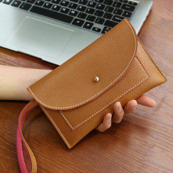 Stitching Flapped Wristlet - LIGHT BROWN LIGHT BROWN