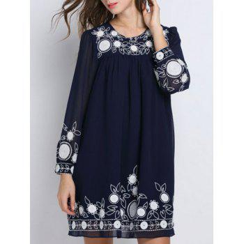 Long Sleeve Embroidery Shift Dress