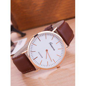 Quartz Analog Faux Leather Watch