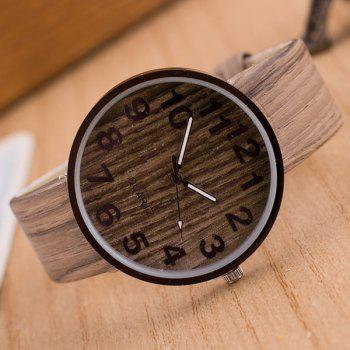 Faux Leather Wood Grain Number Watch