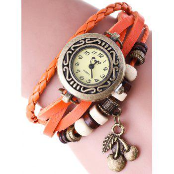 Braided Faux Leather Strand Bracelet Watch
