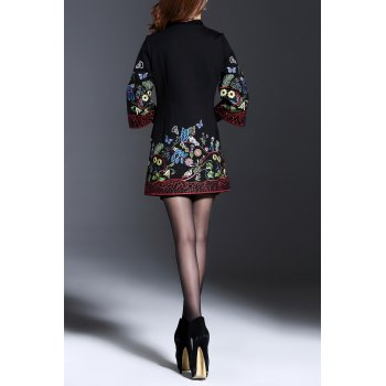 Flower Embroidered Button Up Coat - BLACK L