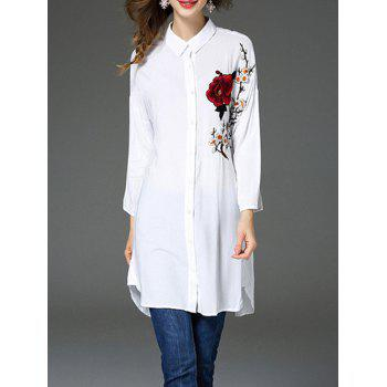 Flower Embroidered Button Up Long Shirt