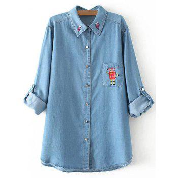 Plus Size Robot Embroidered Light Long Denim Shirt