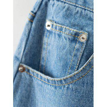 Frayed High Waisted Culotte Jeans - L L