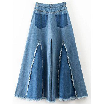 Frayed High Waisted Culotte Jeans - S S
