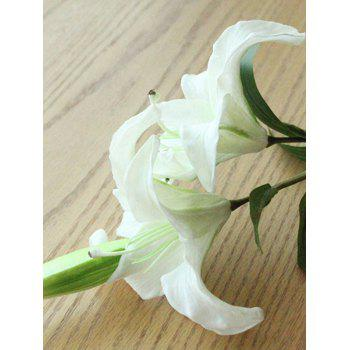 Home Decor Artificial Blossoming Lily Branch -  WHITE