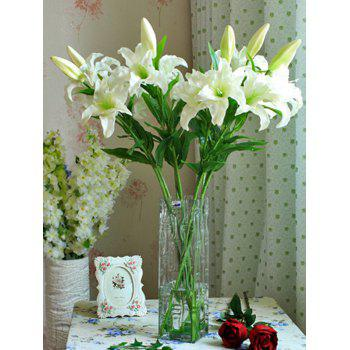 Home Decor Artificial Blossoming Lily Branch - WHITE WHITE