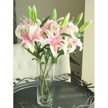 Home Decor Artificial Blossoming Lily Branch - PINK PINK