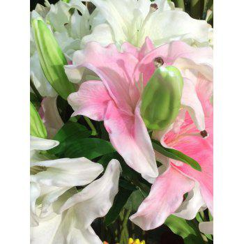 Home Decor Artificial Blossoming Lily Branch -  PINK