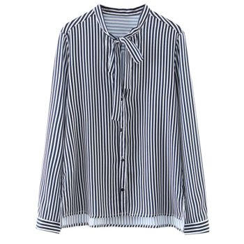 High-Low Bow Tie Striped Shirt