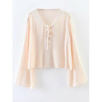 Cut Out Flare Sleeve Lace-Up Blouse